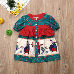 Newborn Kid Baby Girls Christmas Plaids Cartoon Pageant Party Dress, zoerea.com