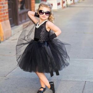 Girls Dress Sequins Party Gown Bridesmaid Wedding Tulle Tutu Bow Dress, zoerea.com