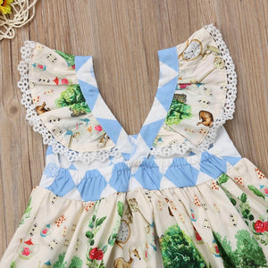 Kids Baby Girls Christmas Cartoon Flying Sleeve Casual Party Dress, zoerea.com