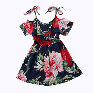 Baby Girls Off-shoulder Skater Dress Kids Floral Summer Party Dresses, zoerea.com
