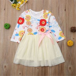 Toddler Kids Baby Girls Princess Flower Long Sleeve Tulle Dress, zoerea.com