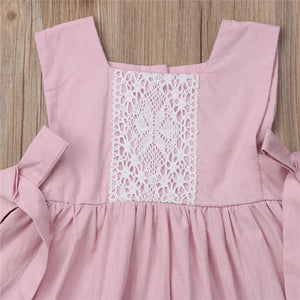 2019 Summer Baby Girl Princess Dress Pink Lace Sleeveless Dresses, zoerea.com