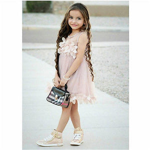 Kids Baby Girl Bridesmaid Petal Party Formal Tutu Tulle Lace Dress, zoerea.com