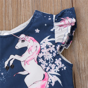 Infant Baby Girl Floral Animal Unicorn Pattern Summer One-Piece Dress, zoerea.com