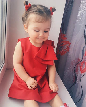 Toddler Girls Baby Kids Bowknot Sleeveless Party Flower Dresses, zoerea.com