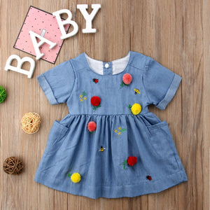 Toddler Kids Baby Girls Pocket Colorful Birthday Party Casual Dress, zoerea.com