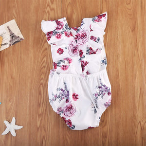 Baby Girl Sleeveless Sunsuit Outfit Clothes Casual Floral Bodysuit, zoerea.com