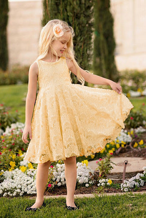 Baby Girls Lace Floral Sleeveless Princess  Gown Formal Party Dress, zoerea.com