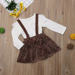Toddler Kid Baby Girl Long Sleeve Lace Tops+Bow Knot Tutu Skirt Outfit, zoerea.com