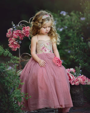 Kids Girl Lace Flower Maxi Long Princess Party Gown Formal Dress - zoerea.com