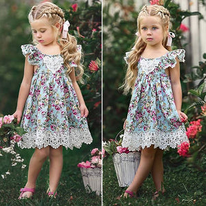 AU Kids Baby Girls Flower Lace Floral Tulle Party Pageant Dresses, zoerea.com