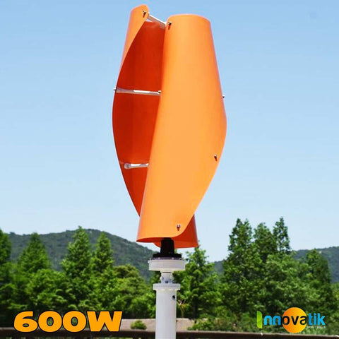 Éolienne Verticale Savonius hélicoïdale 600w orange - VAWT - Innovatik Boutique