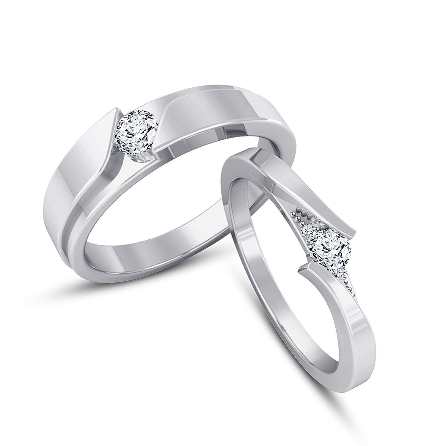 ATJewels 925 Silver Round White Gold Over Cubic Zirconia Elegant Couple Engagement Wedding Anniversary Ring For