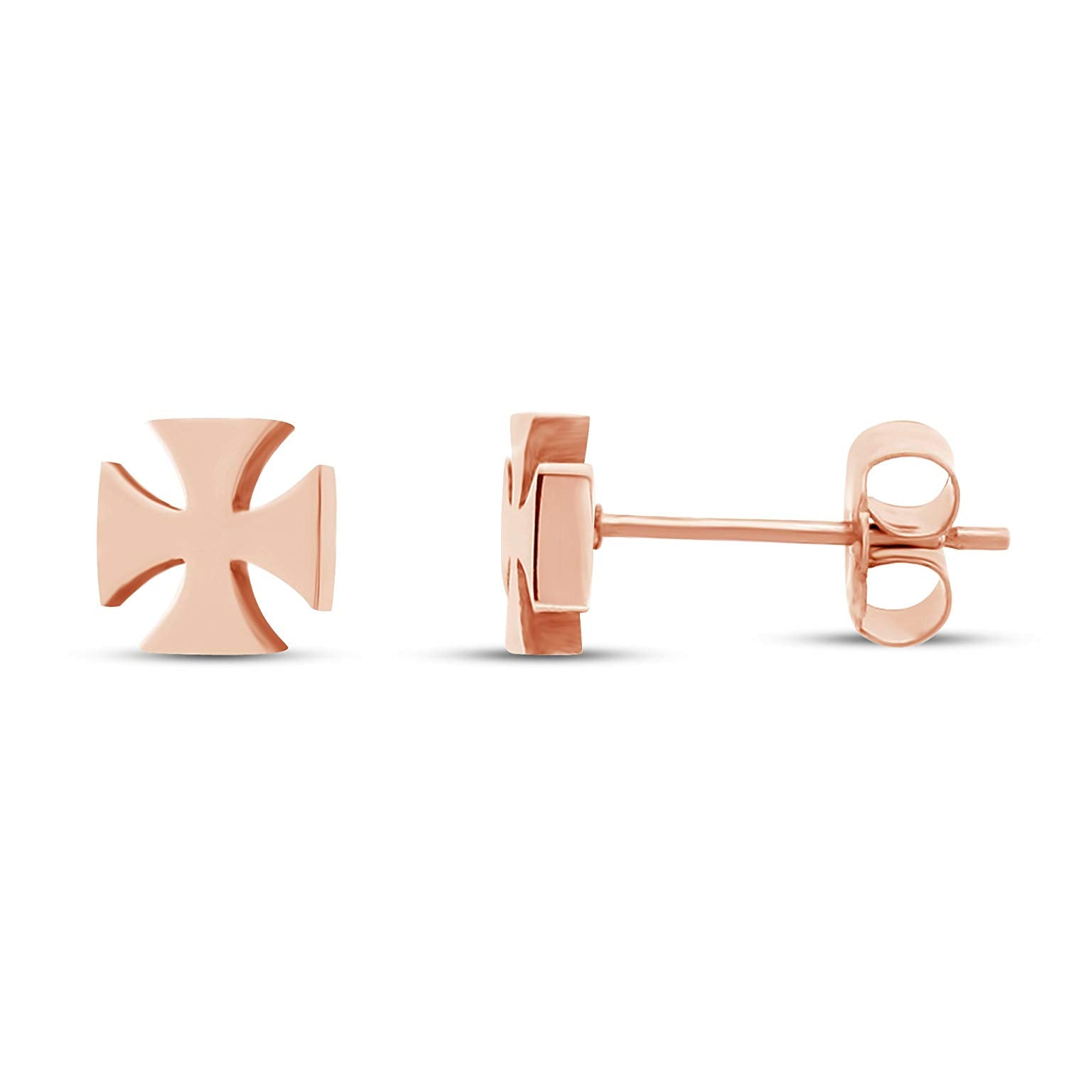 acc931f07 atjewels Cross Stud Earrings in 14k Rose Gold Plated on 925 Sterling Silver  For Women's MOTHER'S DAY SPECIAL OFFER