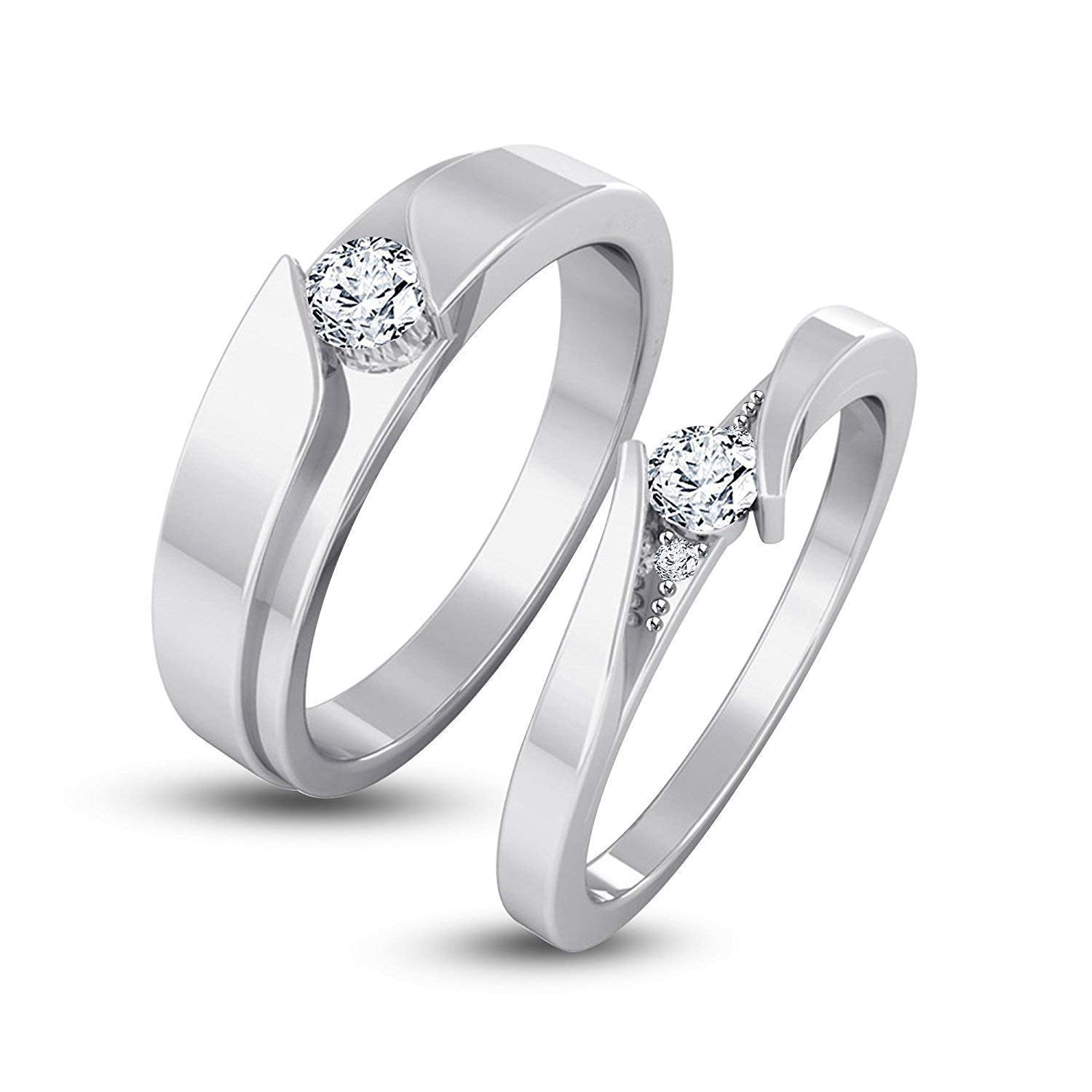 Atjewels 925 Silver Round White Gold Over Cubic Zirconia Elegant