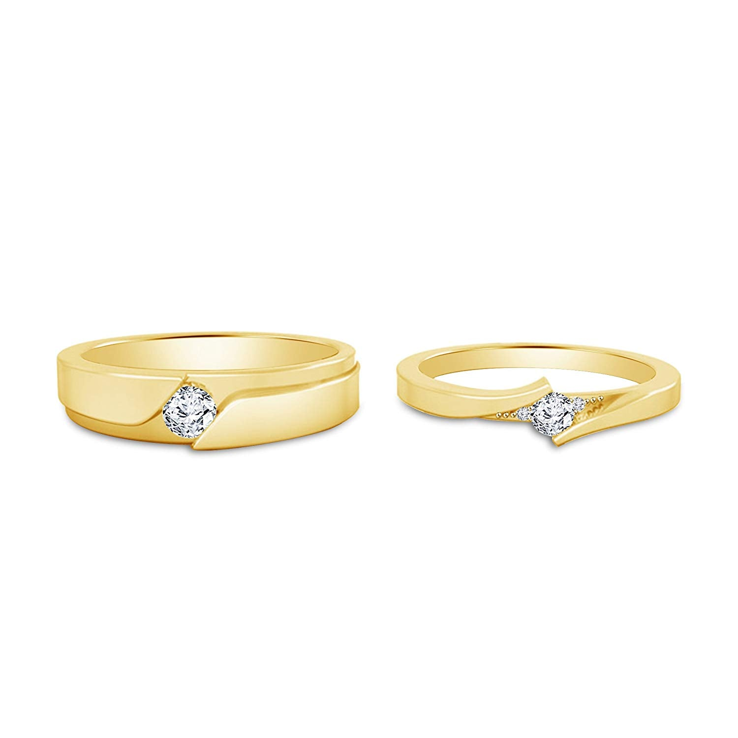 5adfd78b86 atjewels Elegant Couple Ring in 14K Yellow Gold Plated on 925 ...