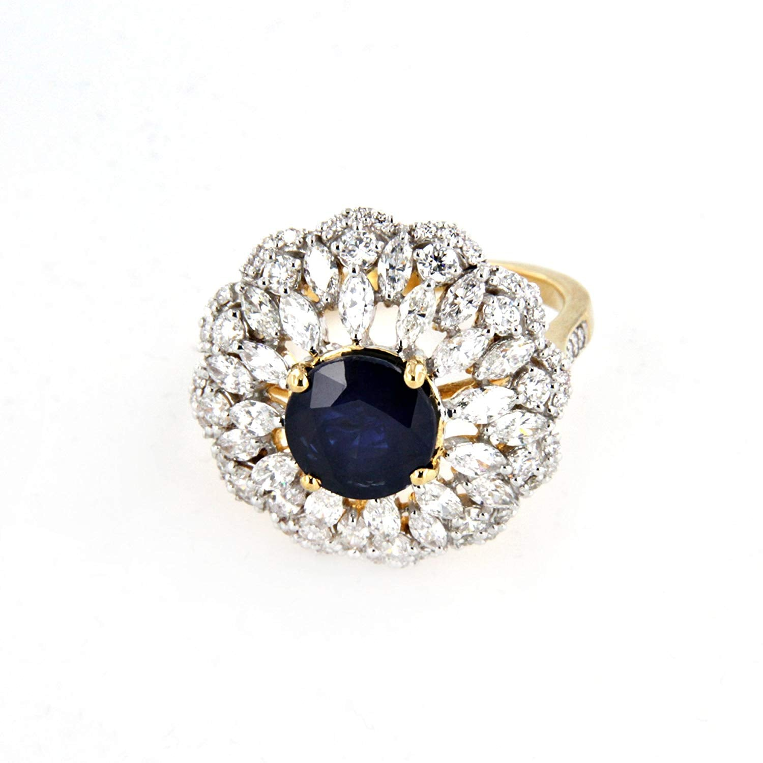 864673c7c2479 atjewels Shiny Solitaire With Accent Ring 14K Yellow Gold On Sterling  Silver With Blue Sapphire MOTHER'S DAY SPECIAL OFFER