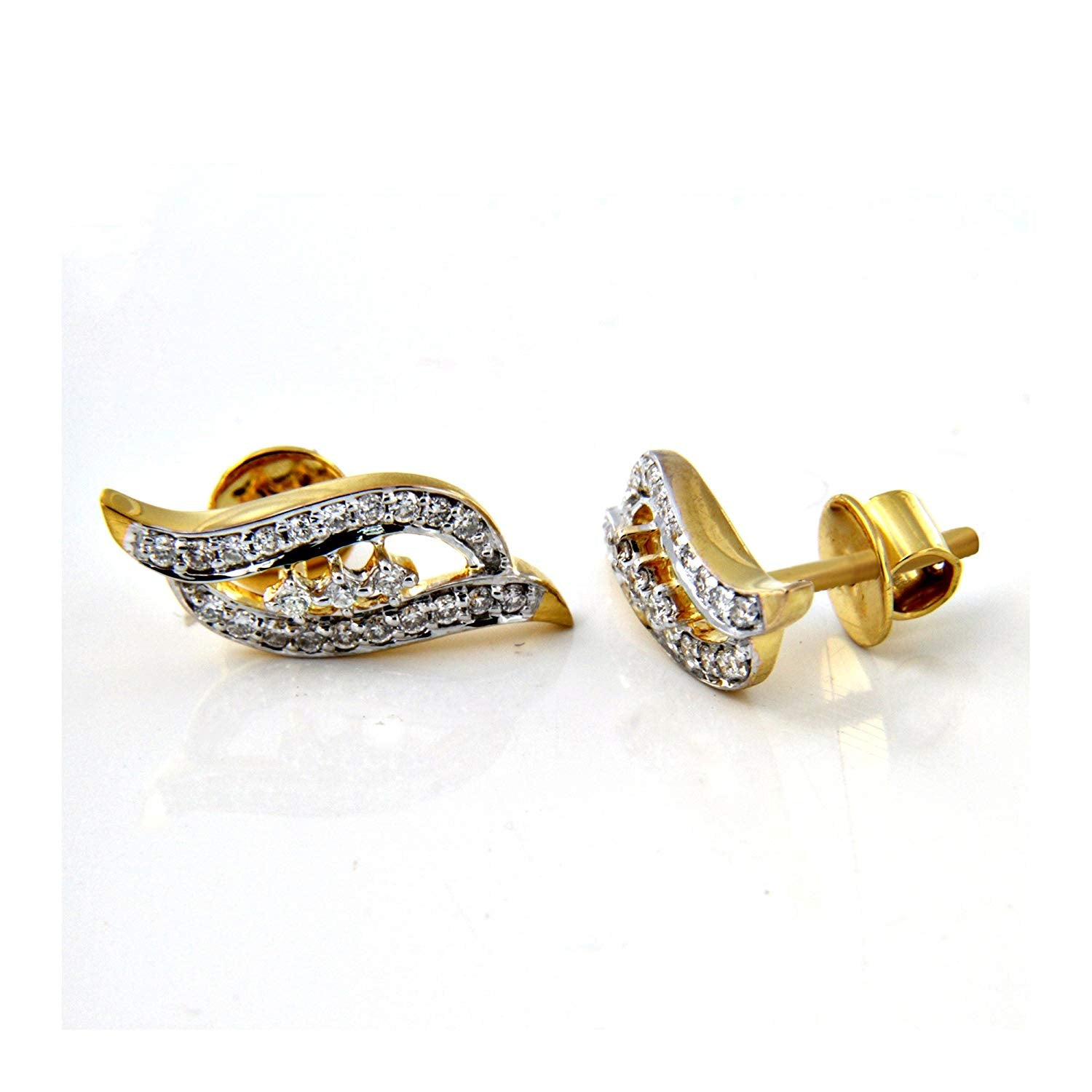 199e16b37 atjewels 18k Yellow Gold On 925 Silver Charming White Diamond Stud Earrings  MOTHER'S DAY SPECIAL OFFER