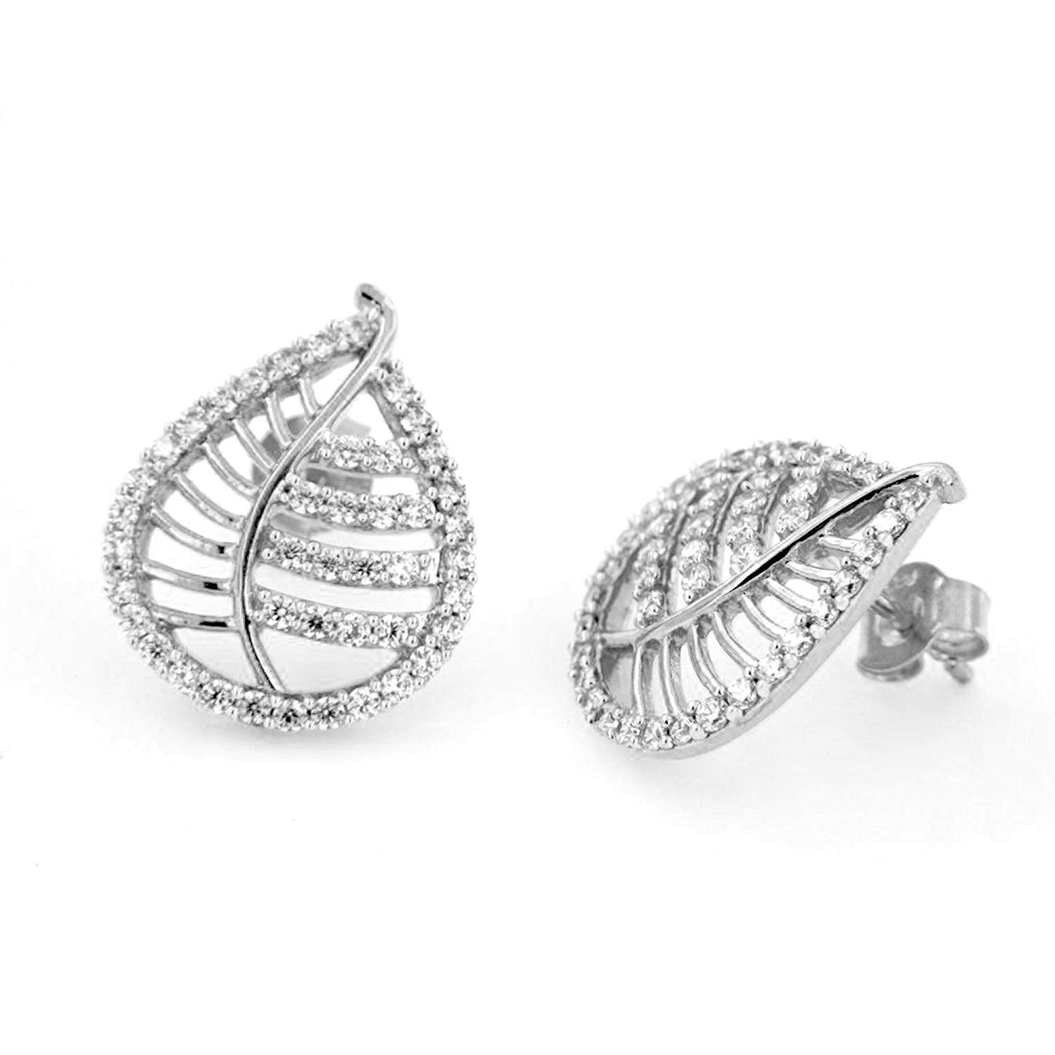 Round Cut White Cubic Zirconia Leaf Stud Earrings In 14K Rose Gold Over Sterling Silver