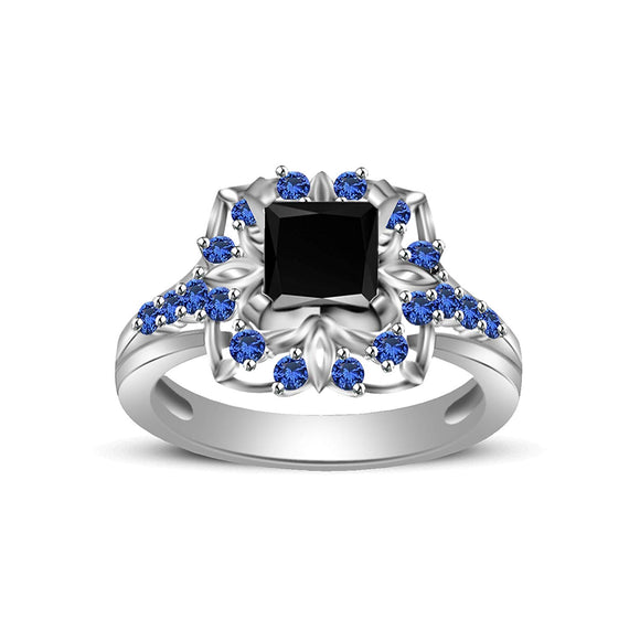 c32963420 atjewels Princess & Round Cut Black CZ & Blue Sapphire .925 Sterling Silver  Engagement Ring