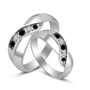 bbbf0c9167 atjewels 925 Sterling Silver Round Black and White Zirconia Couple Ring Set  MOTHER'S DAY SPECIAL OFFER