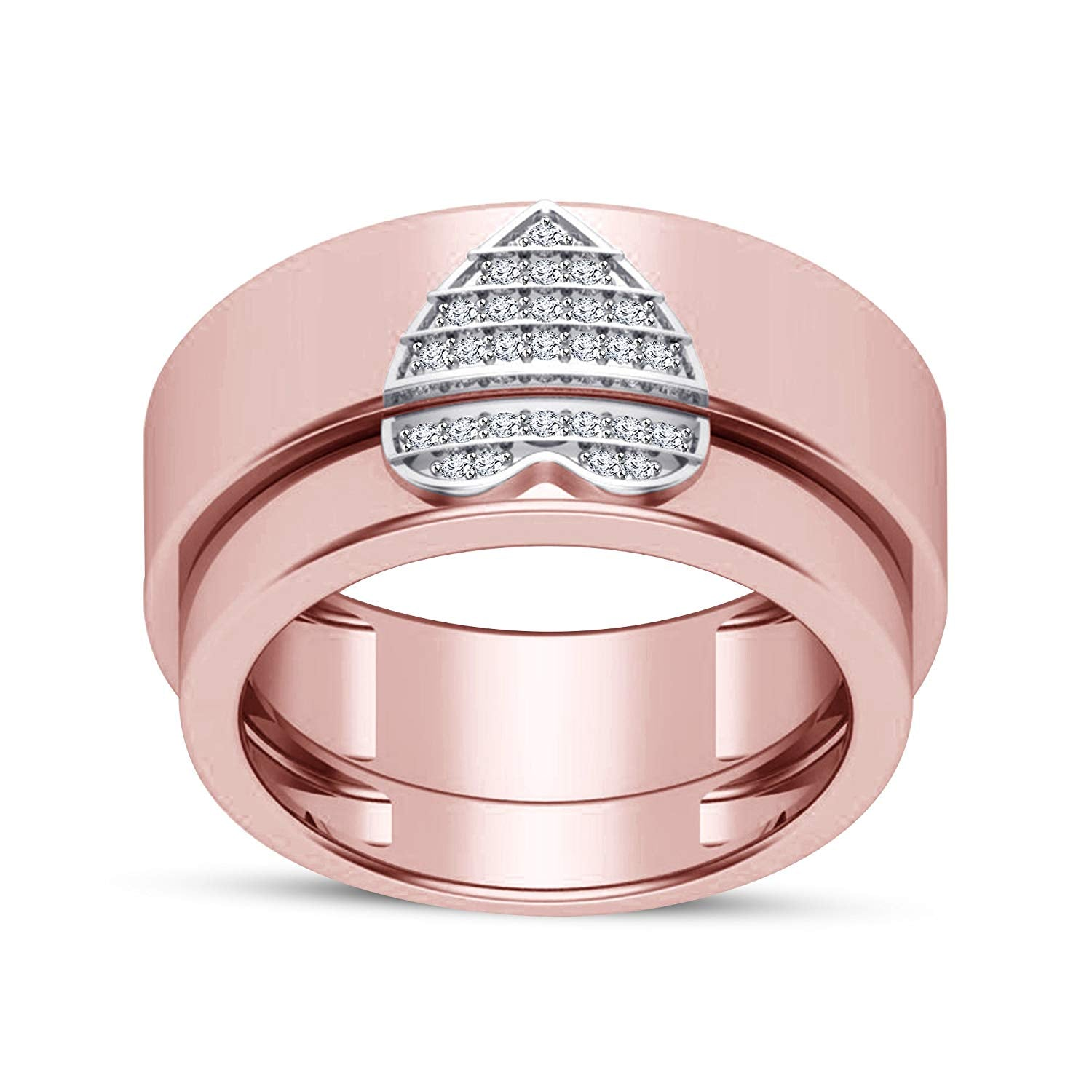 049aeec07d atjewels 18K Rose Gold Plated .925 Silver White Diamond Couple Heart ...