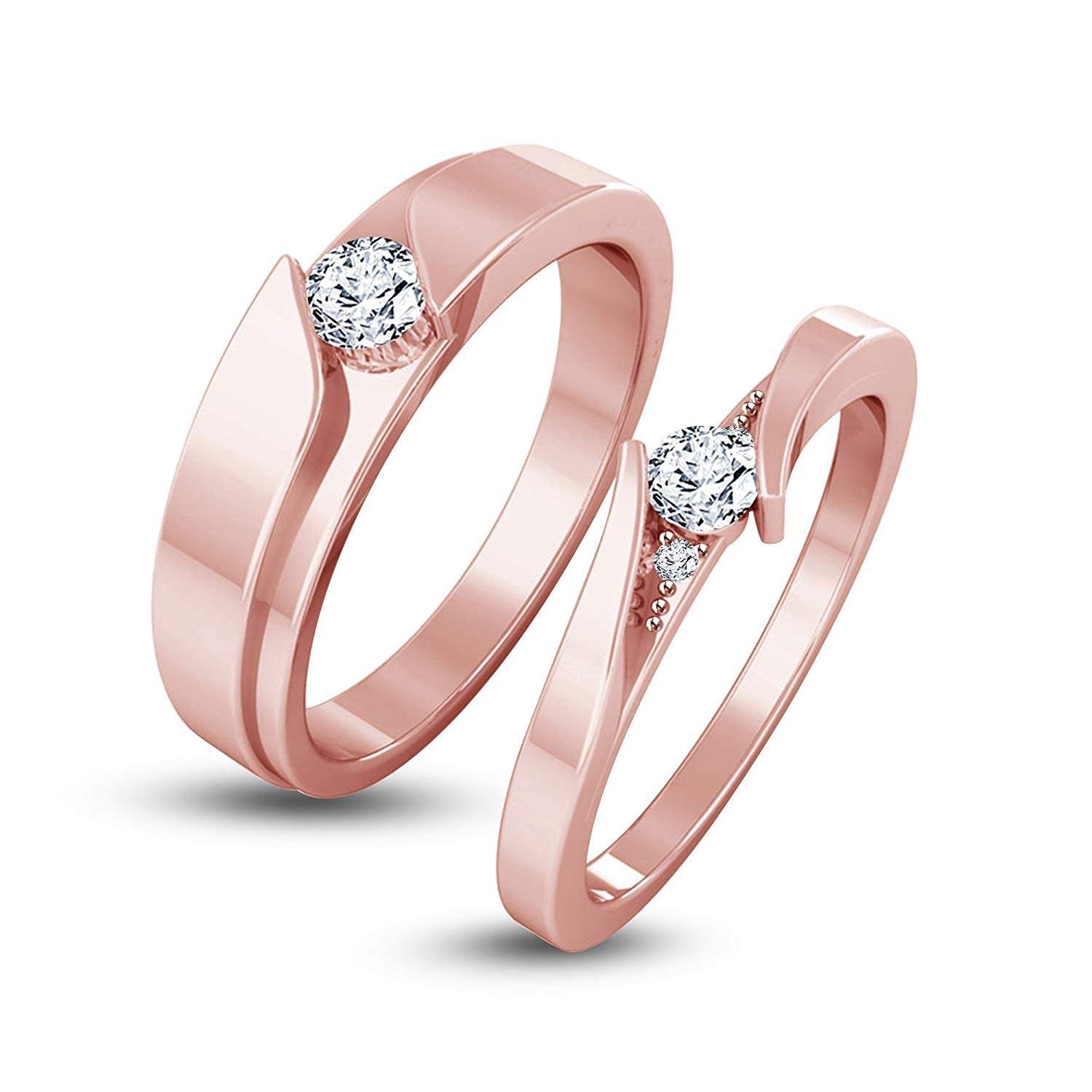 b528d4c7cd atjewels Elegant Couple Ring in 14K Rose Gold Plated on 925 Sterling Silver  White Zirconia MOTHER'S DAY SPECIAL OFFER. Size Charts