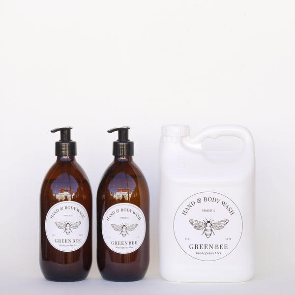 Hand & body probiotic wash - 2 litres plus two 500ml glass countertop bottles