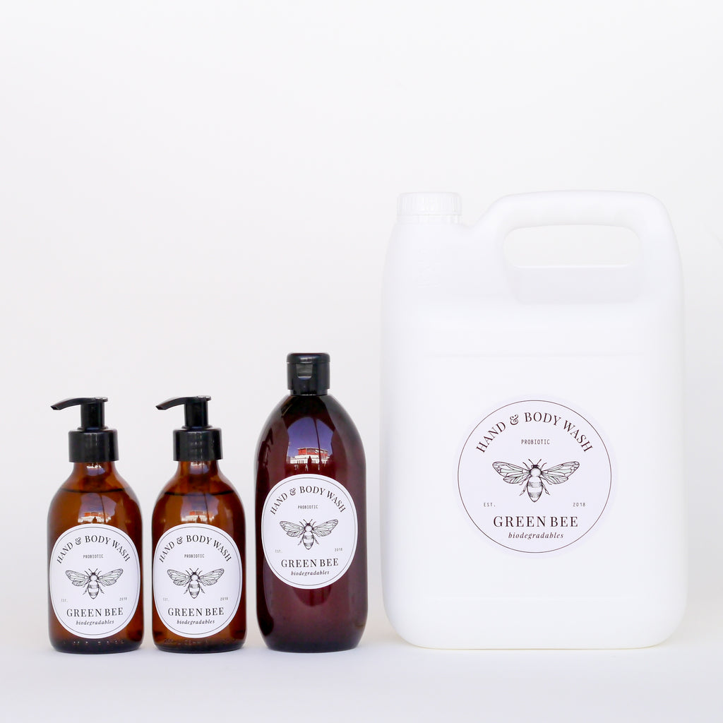 Hand & body probiotic wash - 5 litres plus two 200ml glass bottles & 500ml shower bottle
