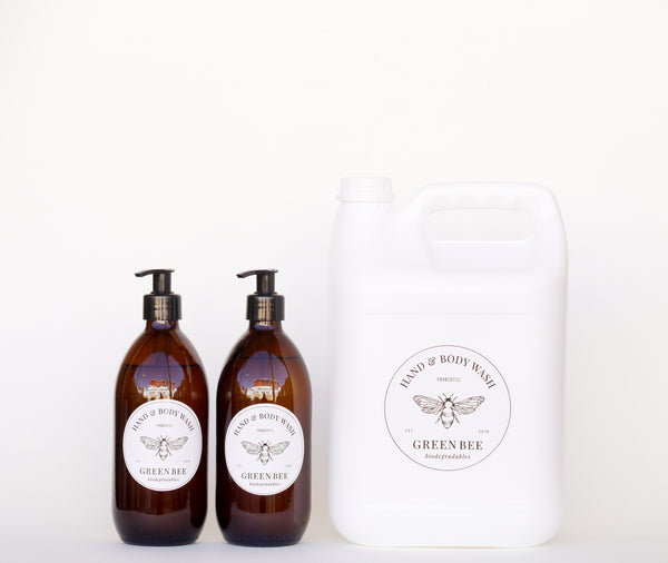 Hand & body probiotic wash - 5 litres plus two 500ml plastic countertop bottles