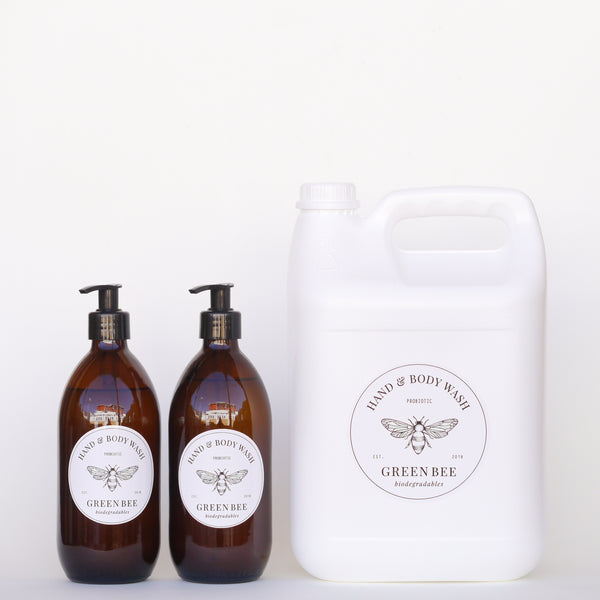 Hand & body probiotic wash - 5 litres plus two 500ml glass countertop bottles
