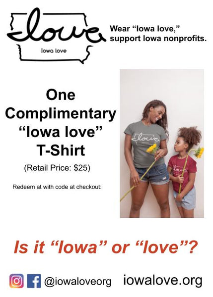 "Want to WIN a free ""Iowa love"" T-Shirt?"