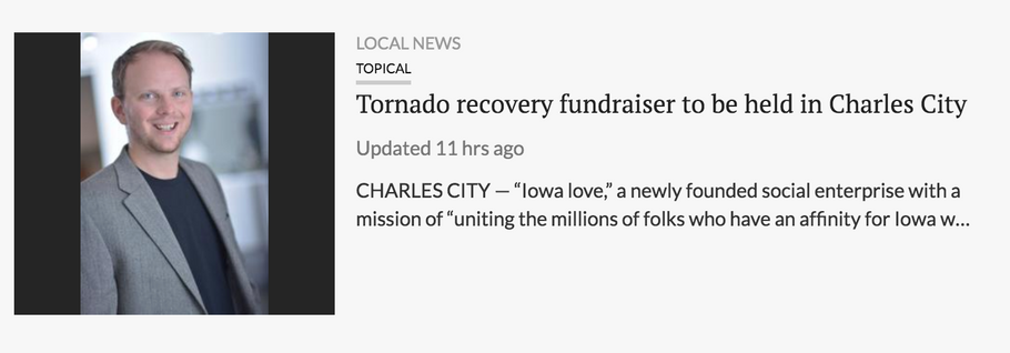 "Waterloo/Cedar Falls Courier: ""Tornado recovery fundraiser to be held in Charles City"""