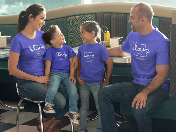 "personalized ""Iowa love"" t-shirt for family reunions and events"