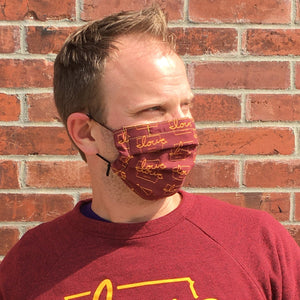 "Cardinal & Gold ""Iowa love"" Face Mask"