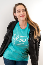"Load image into Gallery viewer, ""Iowa love"" T-Shirt (Turquoise)"