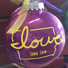 "Load image into Gallery viewer, ""Iowa love"" Christmas Ornaments (4-Pack)"