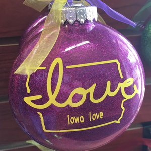 """Iowa love"" Christmas Ornaments (4-Pack)"