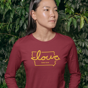 """Iowa love"" Cardinal & Gold Long Sleeve T-Shirt"