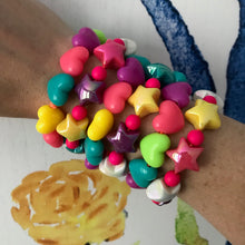 Load image into Gallery viewer, Bright, neon, heart stretch bracelet