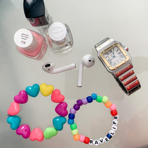 Stackable stretch word bracelets - Rave Life