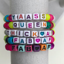 Load image into Gallery viewer, Stackable stretch word bracelets - YAASS Queen