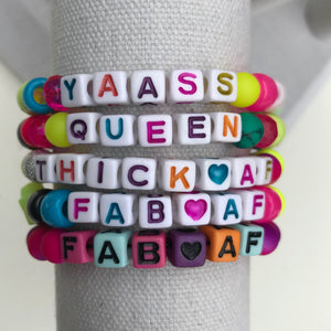 Stackable stretch word bracelets - YAASS Queen