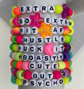 Stackable stretch word bracelets - Fuck it