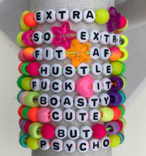 Load image into Gallery viewer, Stackable stretch word bracelets - Cute but psycho