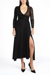 Lara Black Combo Lace Wrap Dress - Maer World