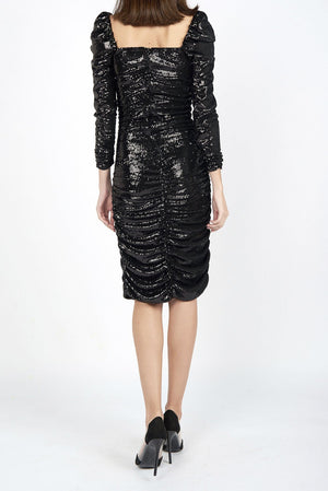 Liz Black  Micro Sequin Ruched Square Neck Dress - Maer World