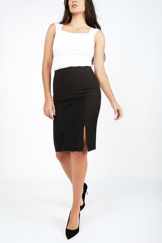 Mai Black Pencil Skirt with Zippered Slit - Maer World