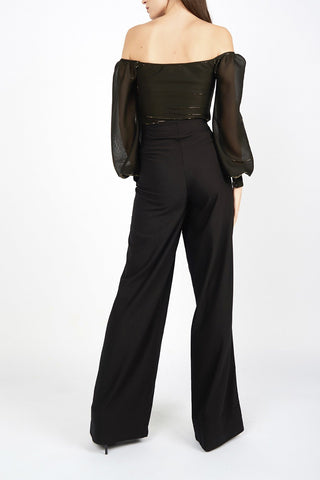 Jenny Black & Gold Metallic Chiffon Jersey Off the Shoulder Bodysuit - Maer World
