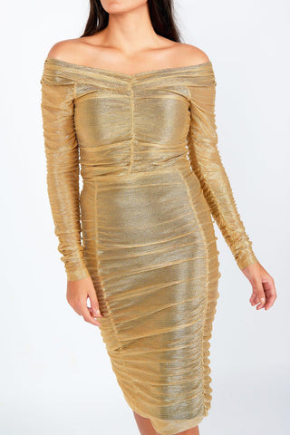Lily Gold Mesh Pencil Skirt - Maer World
